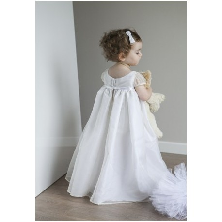 Diane silk organza Christening robe by French Royal designer Little Eglantine