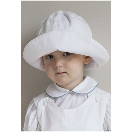 White sunhat by royal designer Little Eglantine for babies, toddlers and young children