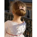 Soft pink Girl Hair bow by French Maison de Couture Little Eglantine