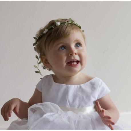 white floral headdress for baby girls - weddings - christening - baptism - little eglantine