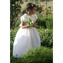 Gallia white peter pan collar and puff sleeves communion dress by French Royal designer Little Eglantine