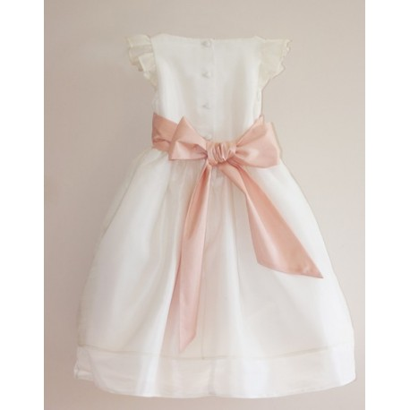 SALE! Adele white and pink silk organza flower girl dress in size 4 by Royal designer Little Eglantine
