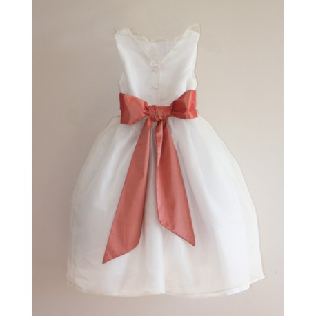 Sample Sale - Chloe white silk organza flower girl dress with salmon pink sash size 5 and 7 - little eglantine