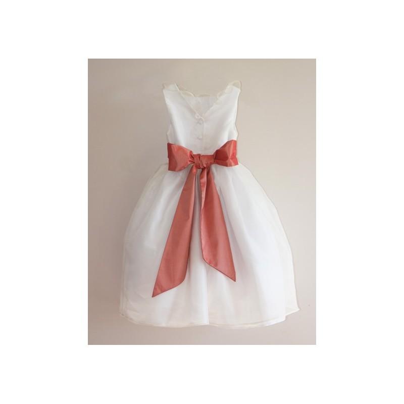 Sample Sale - Chloe white  silk organza flower girl dress with salmon pink sash size 5 and 7 - little eglantine
