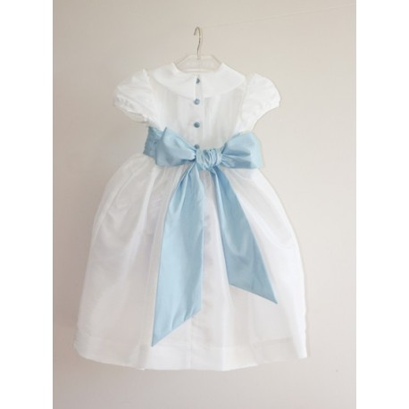 Gallia white designer flower girl dress with pale blue sash - little eglantine