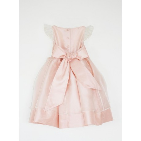 SALE! Adele soft pink silk organza flower girl dress in size 3 by Royal designer Little Eglantine