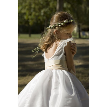 Olympia spotted tulle designer flower girl dress with spotted tulle frill sleeves little eglantine