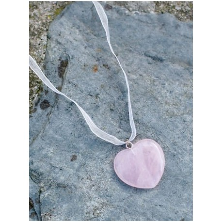 Pink quartz heart pendant - flower girl gift- Little Eglantine