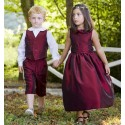 Margot burgundy frill collar designer flower girl or bridesmaid dress by Little Eglantine