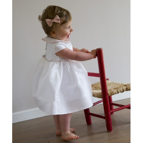 Zelie baby girl dress with peter pan collar & matching knickers - Little Eglantine