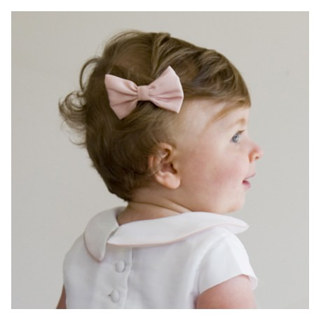 Soft pink baby Girl Hair bow by French Maison de Couture Little Eglantine
