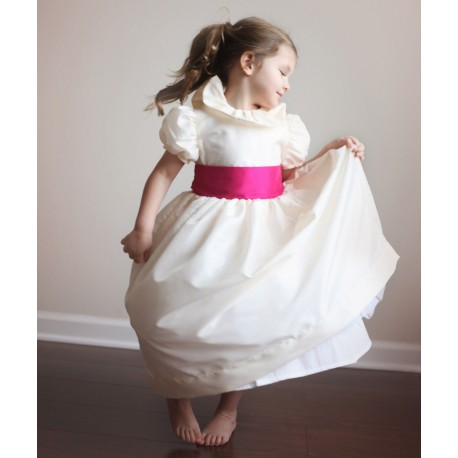 Daphné flower girl dress ivory and fuschia Little Eglantine