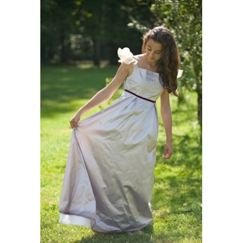 Maud soft lilac dupiion silk junior bridesmaid dress Little Eglantine