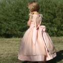 Adele pink flower girl dress with off white silk organza overskirt by Royal designer Little Eglantine- designer flower girl dres