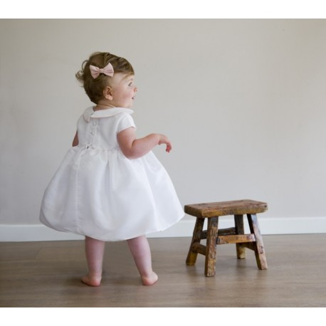Baby christening dresses for elegant girls I Zelie baby girl dress with peter pan collar & matching knickers - Little Eglantine