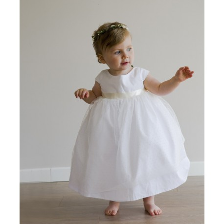 Anna dress - designer baby girl clothes - French royal designer Little Eglantine - Couture tulla with dots dress