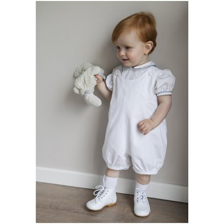 White cotton baby boy Shortie baby boy christening outfit Little Eglantine