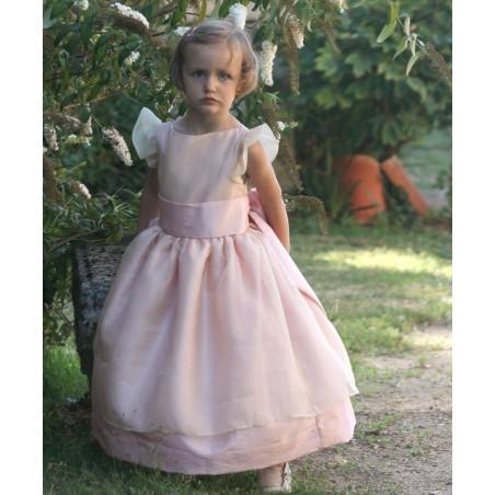 Adele white and pink silk organza flower girl dress by Royal designer Little Eglantine