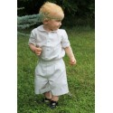 Baby christening outfit : White cotton baby christening shorts by French Royal designer Little Eglantine