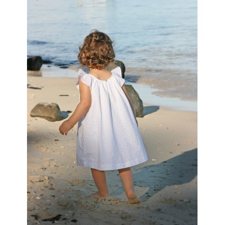 Designer Gold dots baby dress in white cotton - little Eglantine