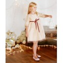 Annabelle Gold & Burgundy sparkling dress for Christmas parties and weddings by Designer Little Eglantine UK