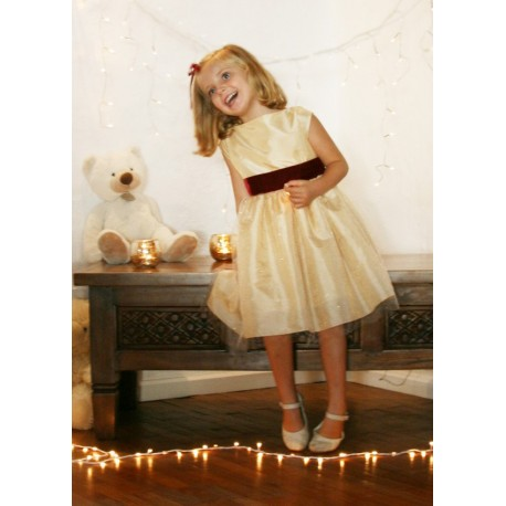 Elena gold and burgundy velvet christmas party dress for little girls by French UK designer Little Eglantine smiling