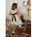 Elena gold and burgundy velvet christmas party dress for little girls by French UK designer Little Eglantine back bow