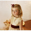 Elena gold and burgundy velvet christmas party dress for little girls by French UK designer Little Eglantine portrait