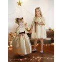 Ines gold and burgundy flower girl dress for Christmas and Winter wedding and Annabelle party dress by French UK designer Little