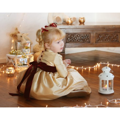 Ines gold and burgundy flower girl dress for Christmas and Winter wedding and parties by French UK designer Little Eglantine sit