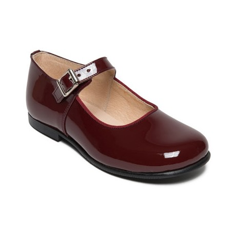 Yolaine burgundy Marie Jane shoes for flower girls and special occasions - Little Eglantine