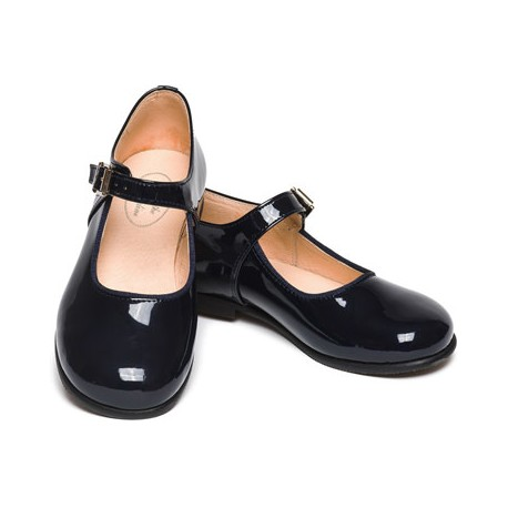 Yolaine navy blue buckle shoes for flower girls and special occasions - Little Eglantine
