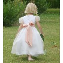 Designer flower girl dresses UK : Alix silk organza puff sleeves bridesmaid dress by UK designer Little Eglantine