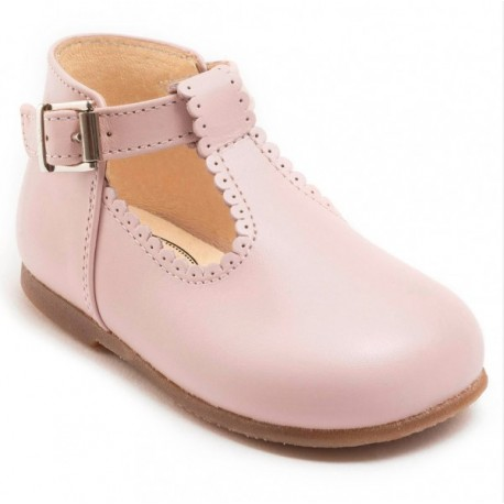 soft pink Clementine T-bar shoes with buckle Little Eglantine