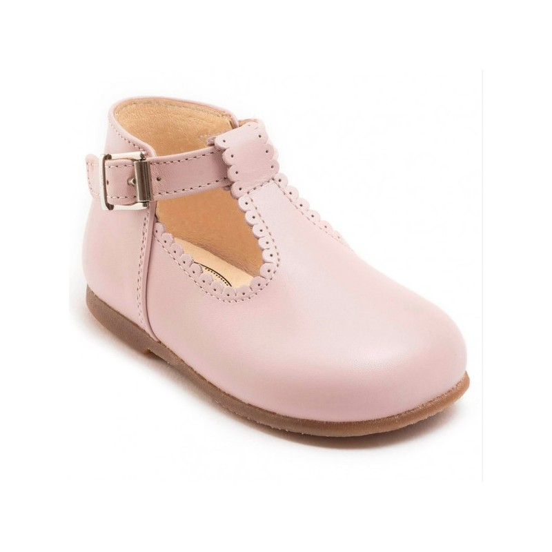 95bd0a6ead4c soft pink Clementine T-bar shoes with buckle Little Eglantine. Loading zoom