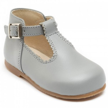 Clementine soft grey T-bar shoes