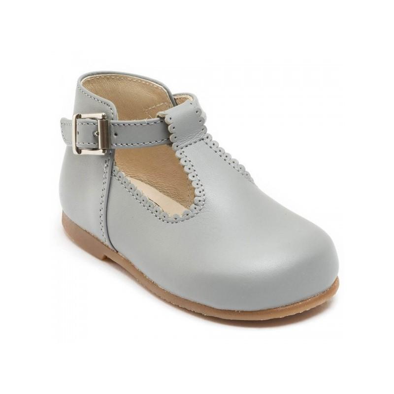 Clementine soft grey T-bar shoes little eglantine