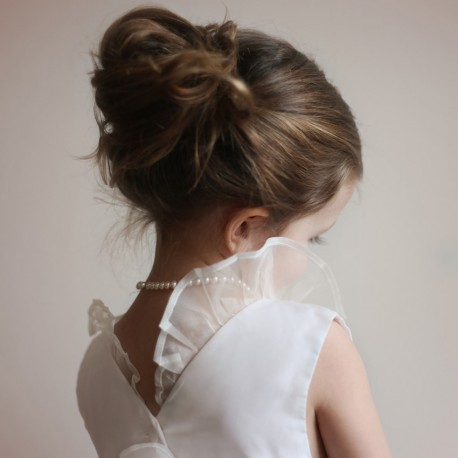 Chloe flower girl dress in size 2 and 3 Sample Sale - Off White taffeta & silk organza by french Royal designer Little Eglantin