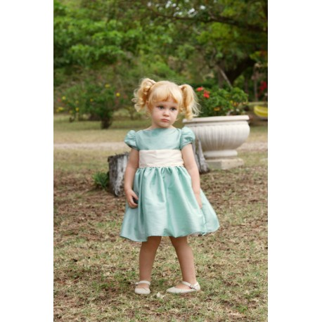 Emilie sage green knee length designer flower girl dress the perfect fit for a royal wedding! designer Little Eglantine