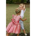 Isabella designer knee length flower girl dress in pink by French UK royal designer Little Eglantine