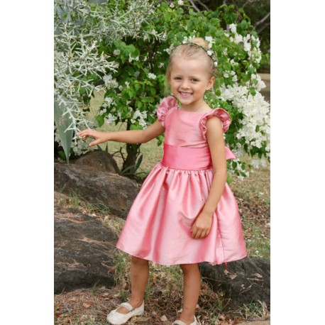 Isabella designer knee length flower girl dress weith flounce sleeves in pink by French UK royal designer Little Eglantine