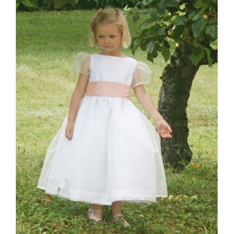Alix white silk organza puff sleeves flower girl dress with soft pink sash by French designer Little Eglantine UK