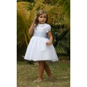 Ambre princess flower girl dress with peter pan collar and puff sleeves by royal designer little eglantine
