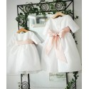 Claire 3/4 length sleeves white flower girl dress with powder pink sash by French designer Little Eglanitine