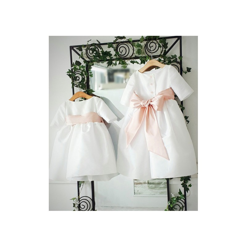 bb43f2c2d98 Claire 3 4 length sleeves white flower girl dress with powder pink sash by  French. Loading zoom