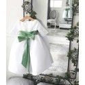 Claire 3/4 length sleeves white flower girl dress with green Deluxe sash by French designer Little Eglanitine