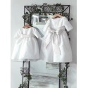 designer communion dresses Claire 3/4 length sleeves by French designer Little Eglantine first holy communion dresses