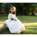 White and burgundy velvet flower girl dress by French designer Little Eglantine