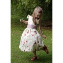Isobel ivory and purple embroidered flower girl dress by UK designer Little Eglantine