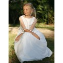 Marine white flower girl dress with spotted tulle sleeves - Little Eglantine